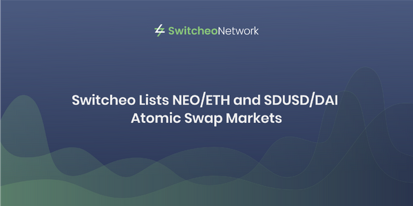 Switcheo Lists NEO/ETH and SDUSD/DAI Atomic Swap Markets